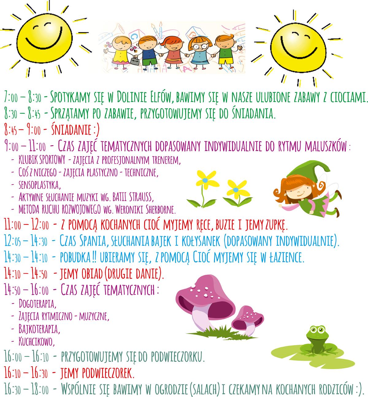 Plan dnia w Dolinie Elfów_Żłobek